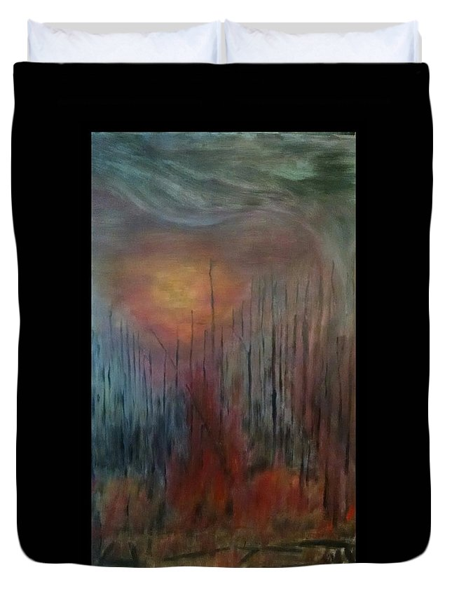 Nature Duvet Cover featuring the painting Struck by Dennis Cantrell