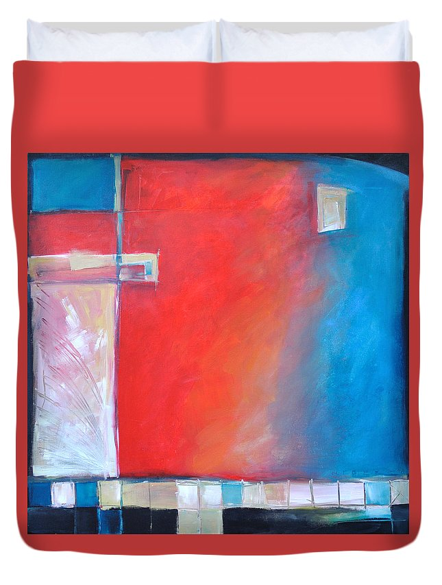 Abstract Duvet Cover featuring the painting Structures And Solitude Revisited by Tim Nyberg