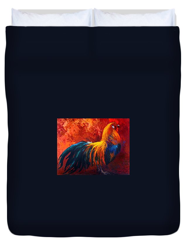 Rooster Duvet Cover featuring the painting Strutting His Stuff by Marion Rose
