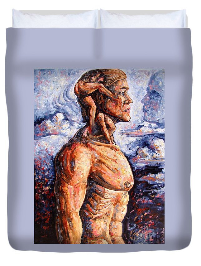 Surrealism Duvet Cover featuring the painting Stuck On You In My Unconscious Paradise by Darwin Leon
