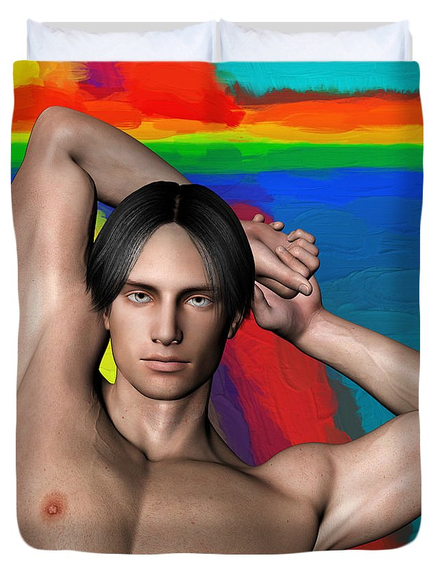 Person Duvet Cover featuring the photograph Studio Man Render 27 by Carlos Diaz