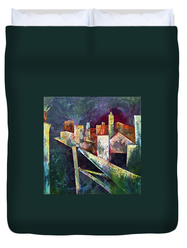 Abstract Paintings Duvet Cover featuring the painting Studio by Shadia Derbyshire