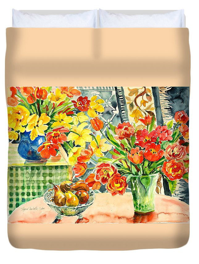 Watercolor Duvet Cover featuring the painting Studio Still Life by Ingrid Dohm