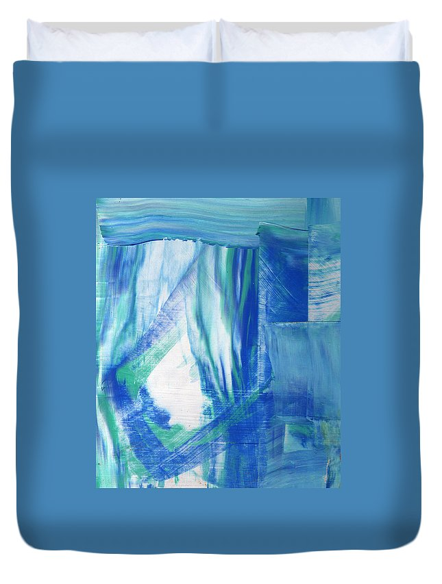 Abstract Duvet Cover featuring the painting Study In The Blues by Wayne Potrafka