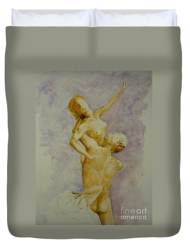 Nude Duvet Cover featuring the painting Study In Watercolour by Lizzy Forrester