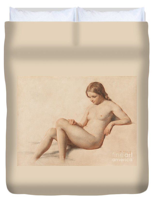 Study Of A Nude Duvet Cover featuring the drawing Study Of A Nude by William Mulready