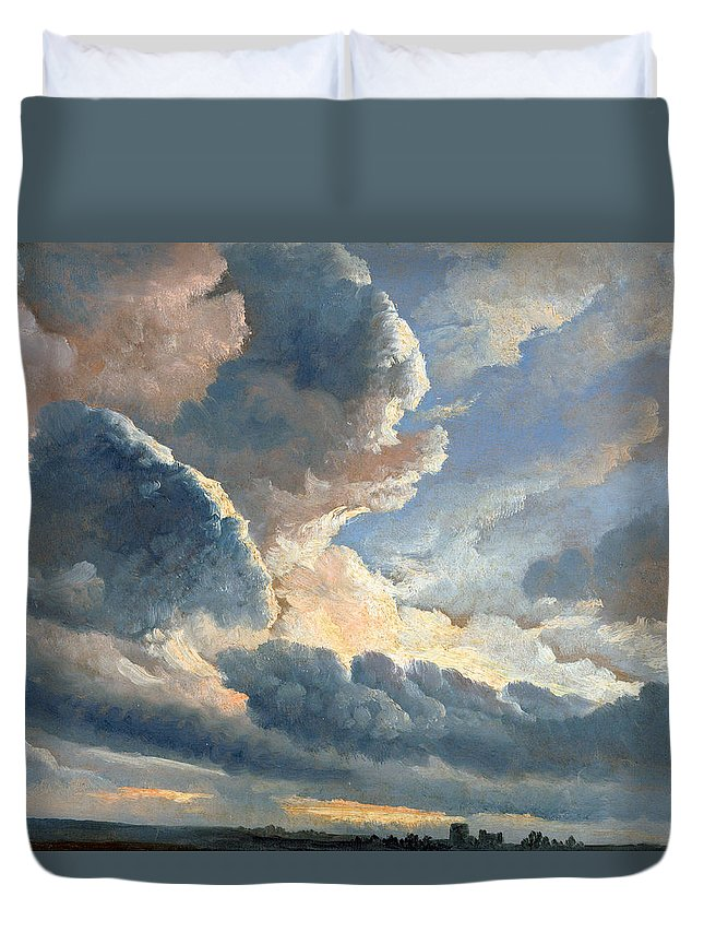 Simon Denis Duvet Cover featuring the painting Study Of Clouds With A Sunset Near Rome by Simon Denis