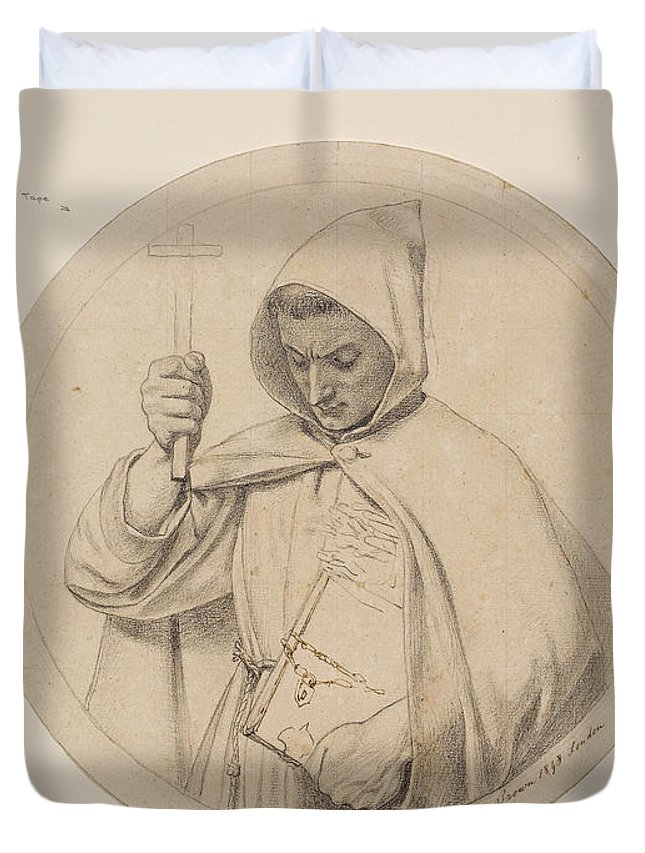 Ford Madox Brown Duvet Cover featuring the drawing Study Of Monk Representing The Catholic Faith by Ford Madox Brown
