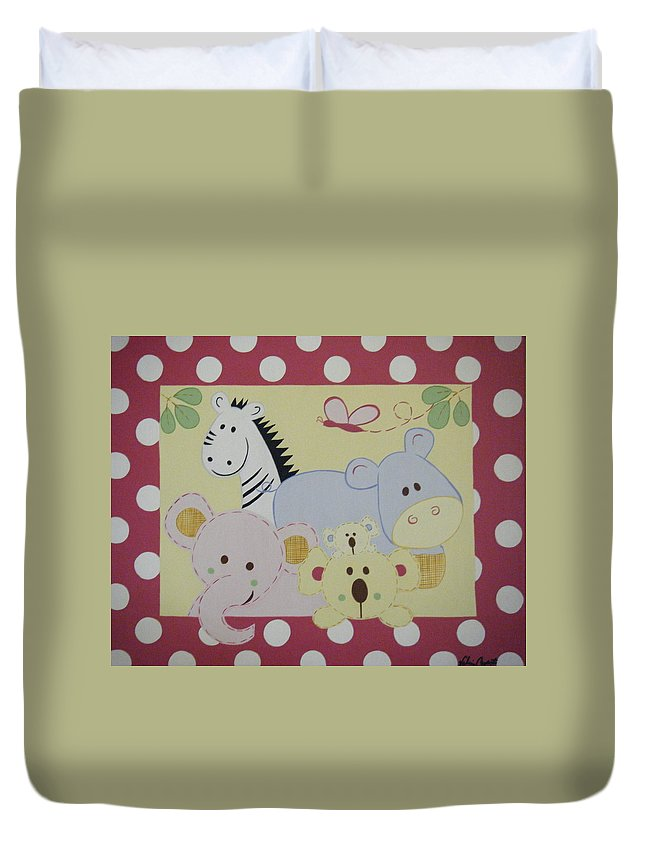 Hippo Duvet Cover featuring the painting Stuffed Animals by Valerie Carpenter