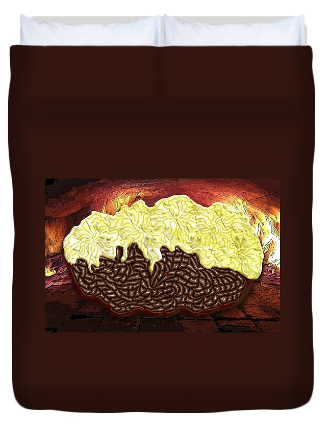 Potato Duvet Cover featuring the digital art Stuffed Potato by Mark Sellers