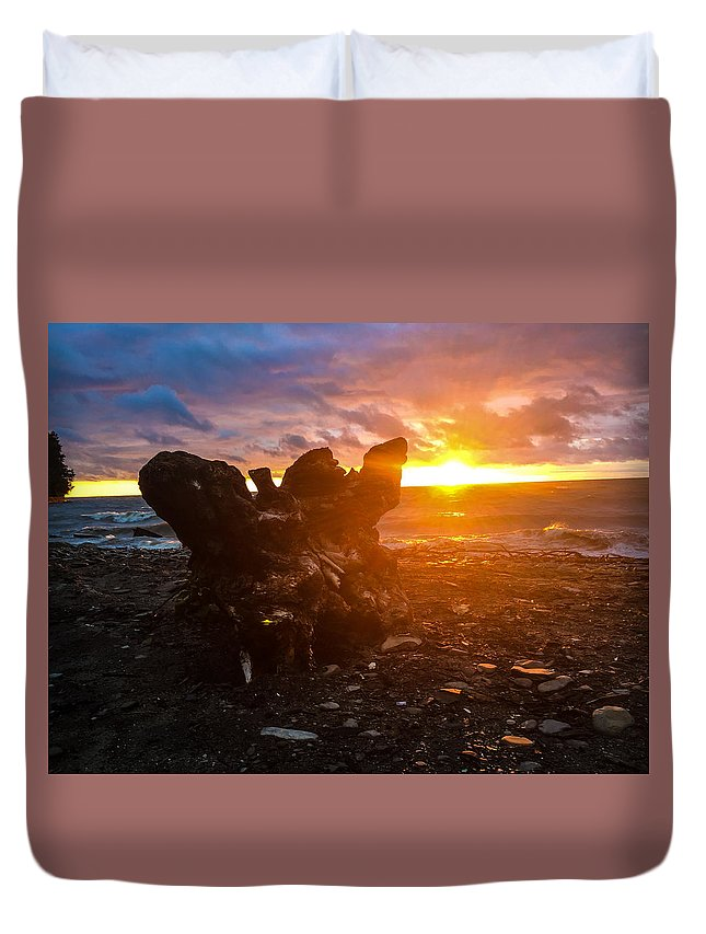 Nature Duvet Cover featuring the photograph Stump On Lake Erie by Ryan Scott