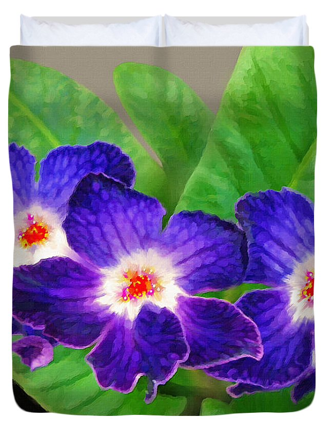 Flowers Duvet Cover featuring the painting Stunning Blue Flowers by Susanna Katherine