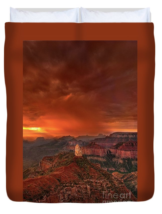 North America Duvet Cover featuring the photograph Stunning Red Storm Clouds Over The North Rim Grand Canyon Arizona by Dave Welling