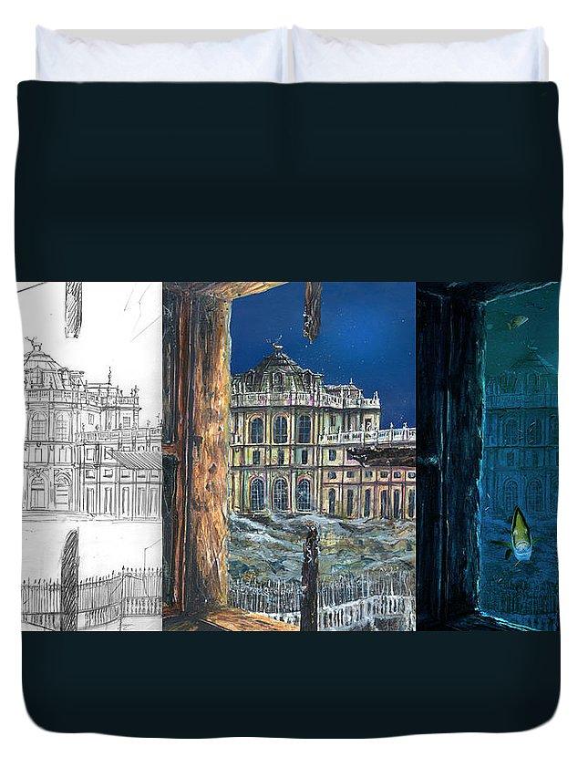 Sci-fi Duvet Cover featuring the digital art Stupinigi Wip by Andrea Gatti