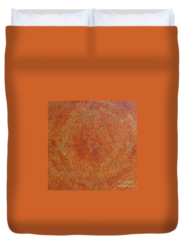 Abstract Duvet Cover featuring the painting Su Gaia Earth by Dean Triolo