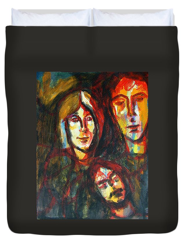 Abstract Duvet Cover featuring the painting Subconscious Ego by Judith Redman