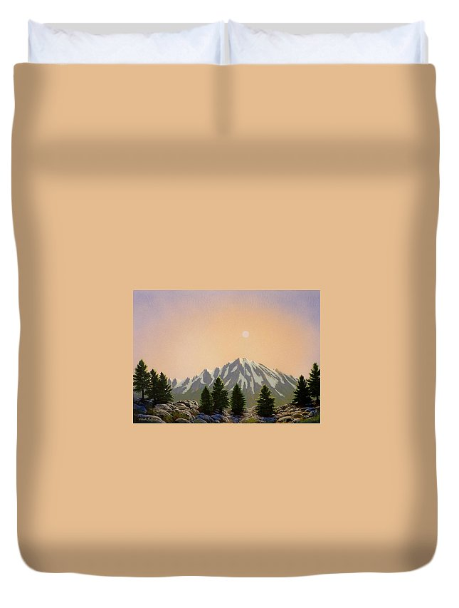 Landscape Duvet Cover featuring the painting Sublime Sierra Light by Frank Wilson