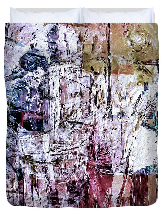 Abstract Duvet Cover featuring the painting Subterranean by Dominic Piperata