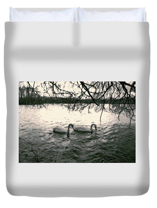 Swans Duvet Cover featuring the photograph Subtle Swans by Julia Raddatz