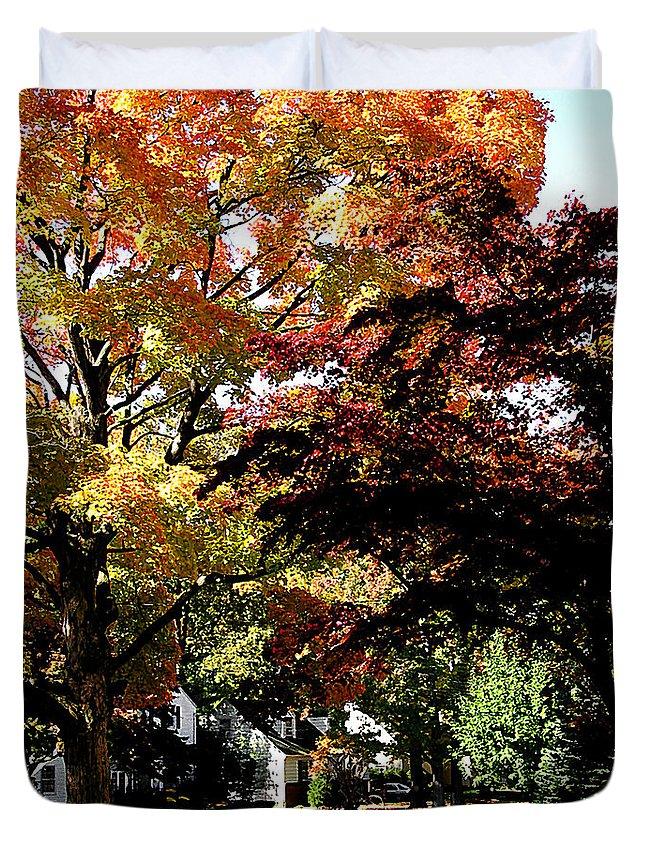 Autumn Duvet Cover featuring the photograph Suburban Autumn by Susan Savad