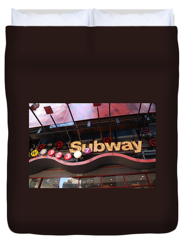 Neon Duvet Cover featuring the photograph Subway by Rob Hans