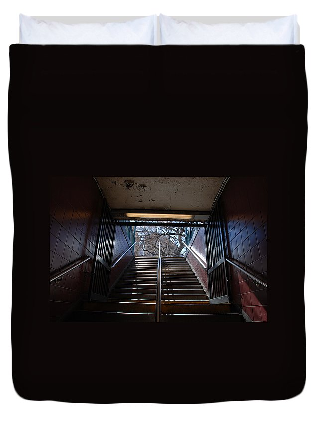 Pop Art Duvet Cover featuring the photograph Subway Stairs To Freedom by Rob Hans