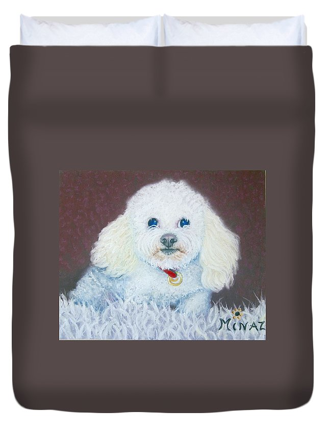 Dog Duvet Cover featuring the painting Such A Charm by Minaz Jantz