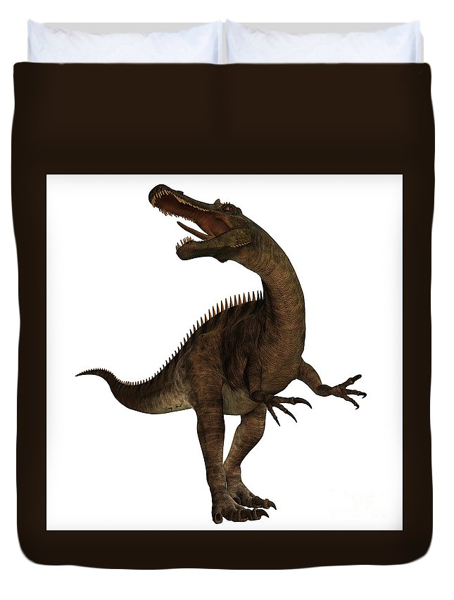 Suchomimus Duvet Cover featuring the painting Suchimimus Profile by Corey Ford