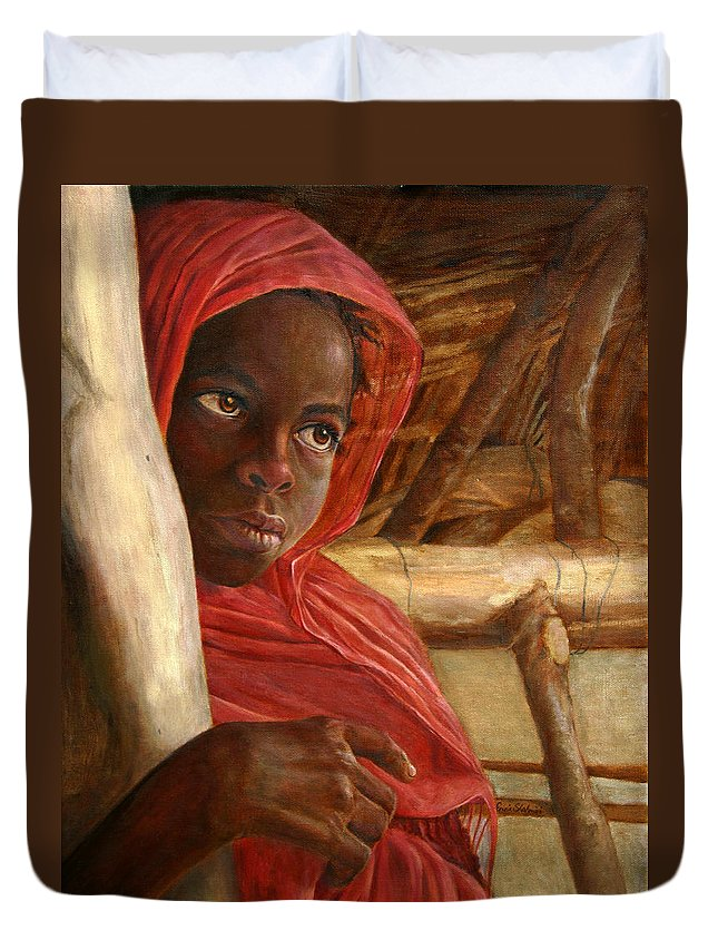 Children Painting Duvet Cover featuring the painting Sudanese Girl by Portraits By NC