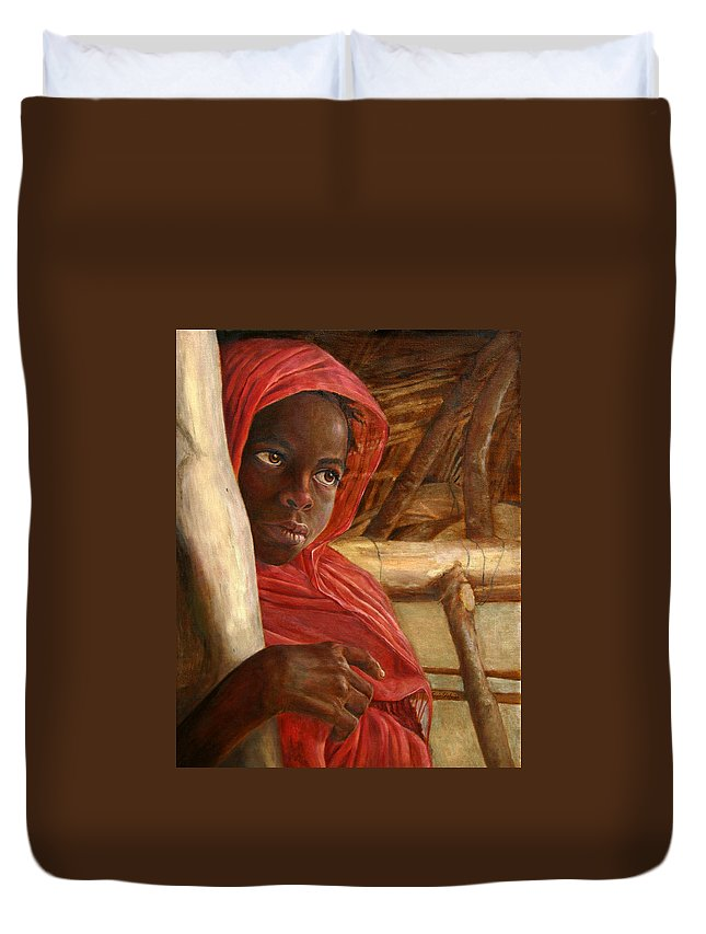 Children Painting Duvet Cover featuring the painting Sudanese Girl by Enzie Shahmiri