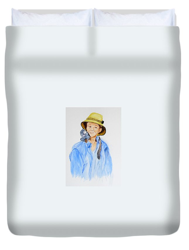 Equador Duvet Cover featuring the painting Sue And Pepita by Vicki Housel