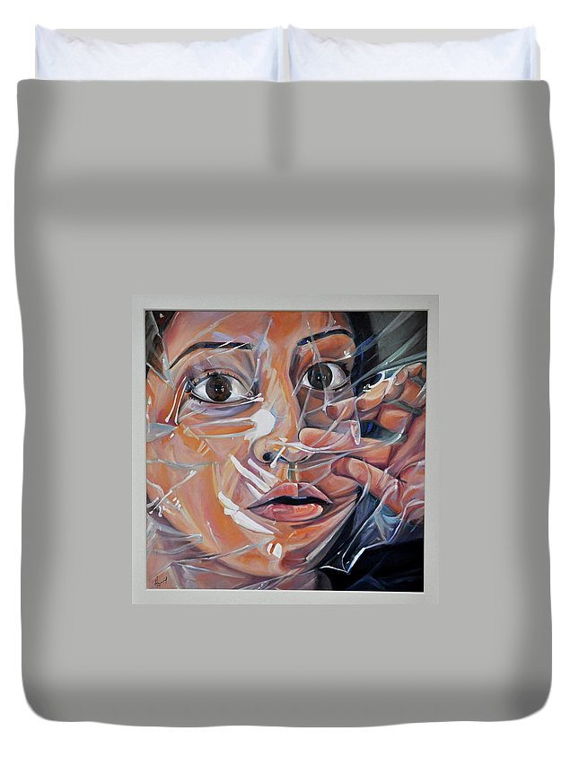 Figurative Painting Duvet Cover featuring the painting Suffocation by Sabah Javaid
