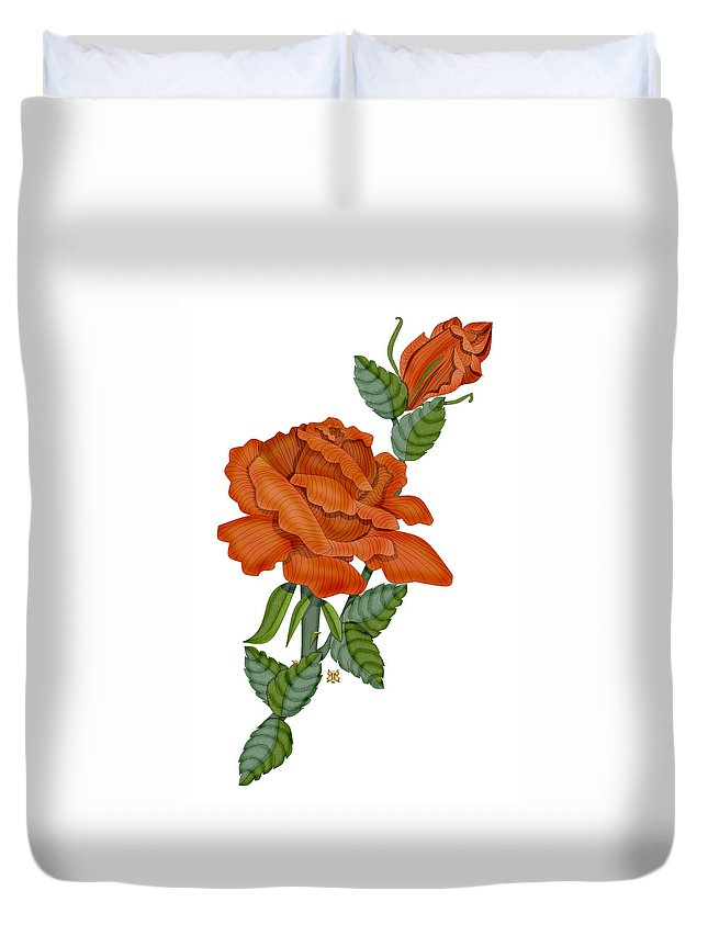 Hand-drawn Digital Painting Duvet Cover featuring the painting Sugar And Spice by Anne Norskog