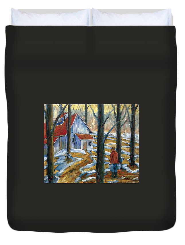 Suga Duvet Cover featuring the painting Sugar Bush by Richard T Pranke