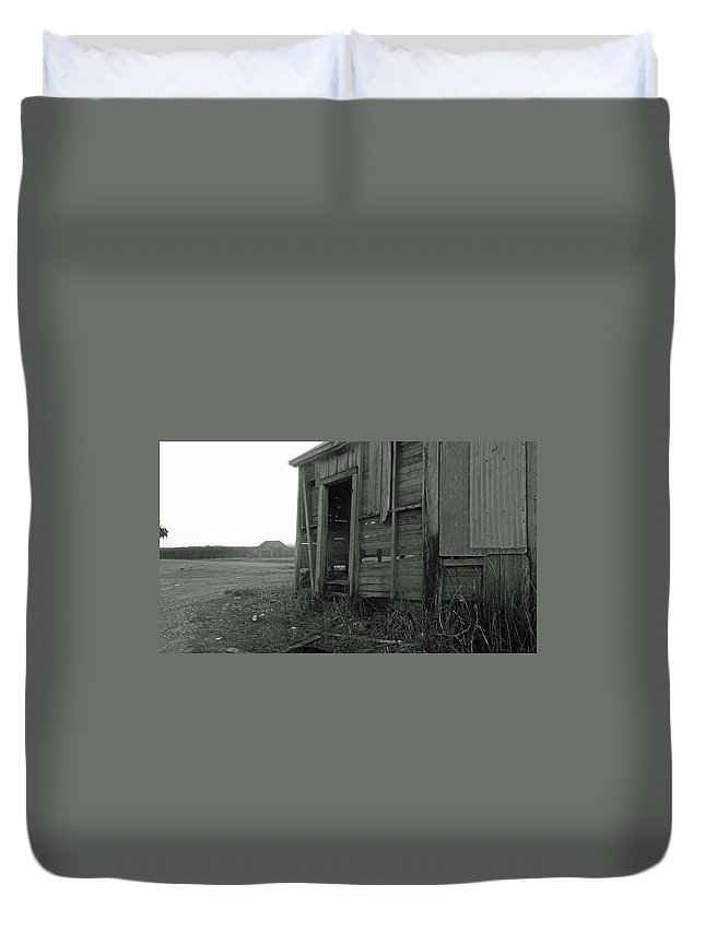 Louisiana Duvet Cover featuring the photograph Sugar Cane Shack by Leigh Ann Raab