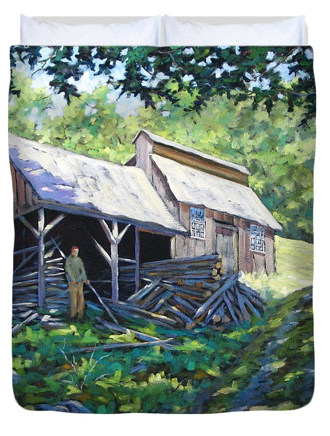 Sugar Shack Duvet Cover featuring the painting Sugar Shack In July by Richard T Pranke
