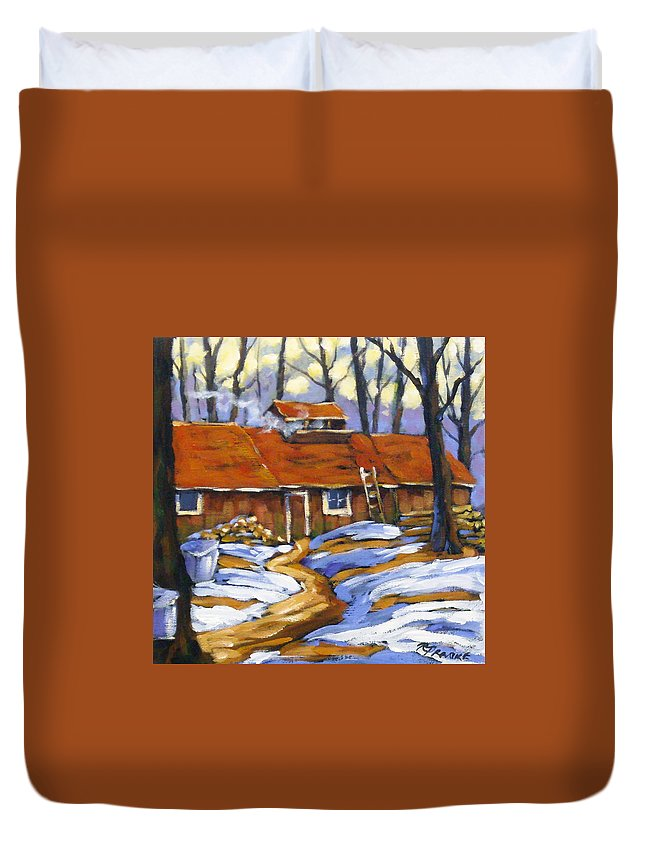 Sugar Shack Duvet Cover featuring the painting Sugar Time by Richard T Pranke