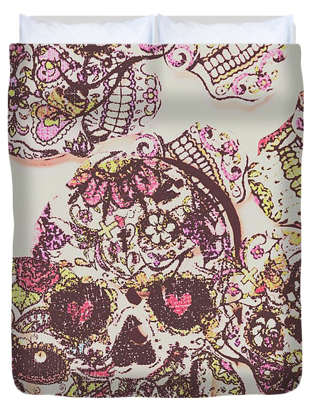 Punk Duvet Cover featuring the photograph Sugarskull Punk Patchwork by Jorgo Photography - Wall Art Gallery