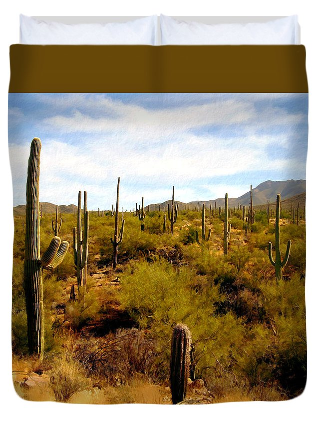 Suguaro Cactus Duvet Cover featuring the photograph Suguro National Park by Kurt Van Wagner