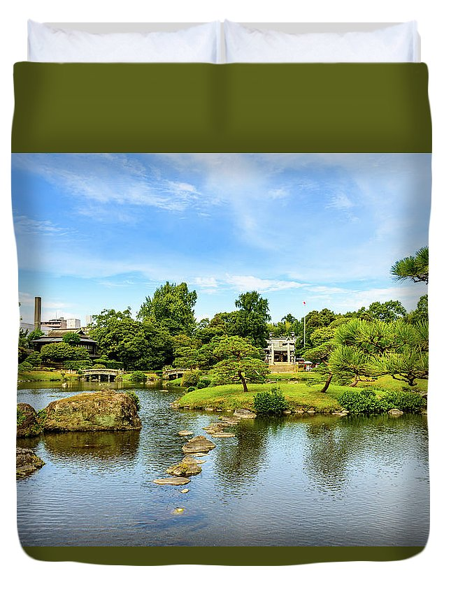 Asia Duvet Cover featuring the photograph Suizenji Pond 2 by Michael Scott
