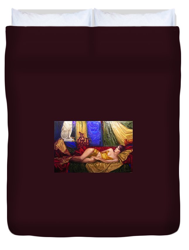 Art Duvet Cover featuring the painting Sultan Spouse by Sergey Ignatenko