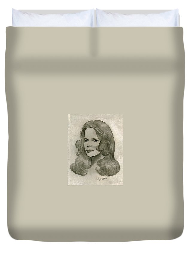 Drawing Duvet Cover featuring the drawing Sultry Smile by Marco Morales