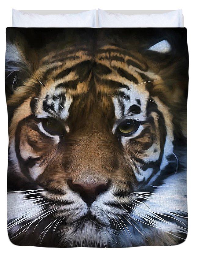 Sumatran Tiger Duvet Cover featuring the photograph Sumatran tiger by Sheila Smart Fine Art Photography