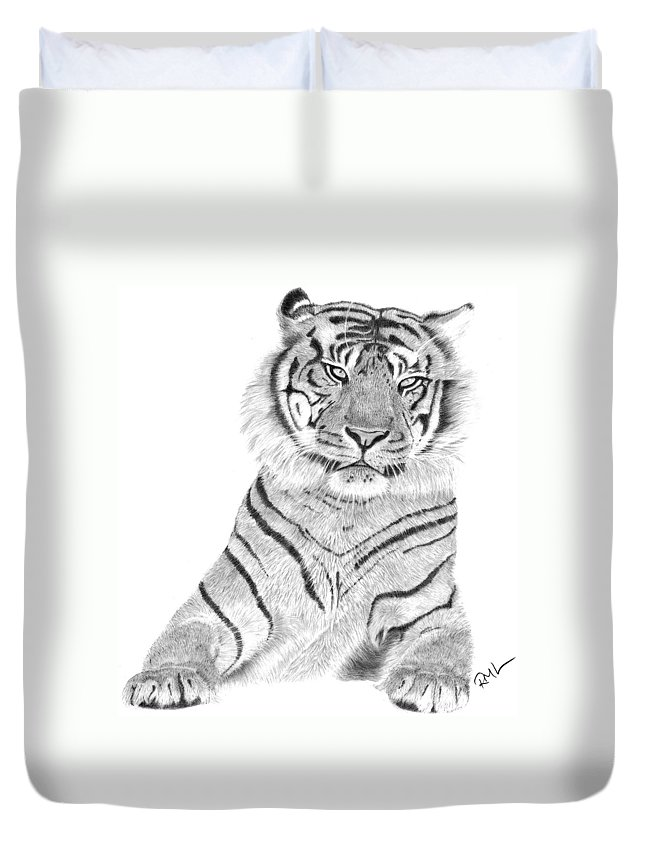 Tiger Artwork Duvet Cover featuring the drawing Sumatran Tiger by Rosanna Maria