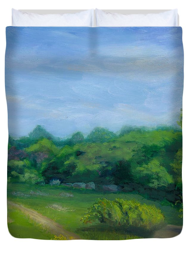 Landscape Duvet Cover featuring the painting Summer Afternoon At Ashlawn Farm by Paula Emery