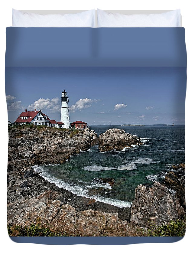 Cape Elizabeth Duvet Cover featuring the photograph Summer Afternoon, Portland Headlight by Gary Shepard