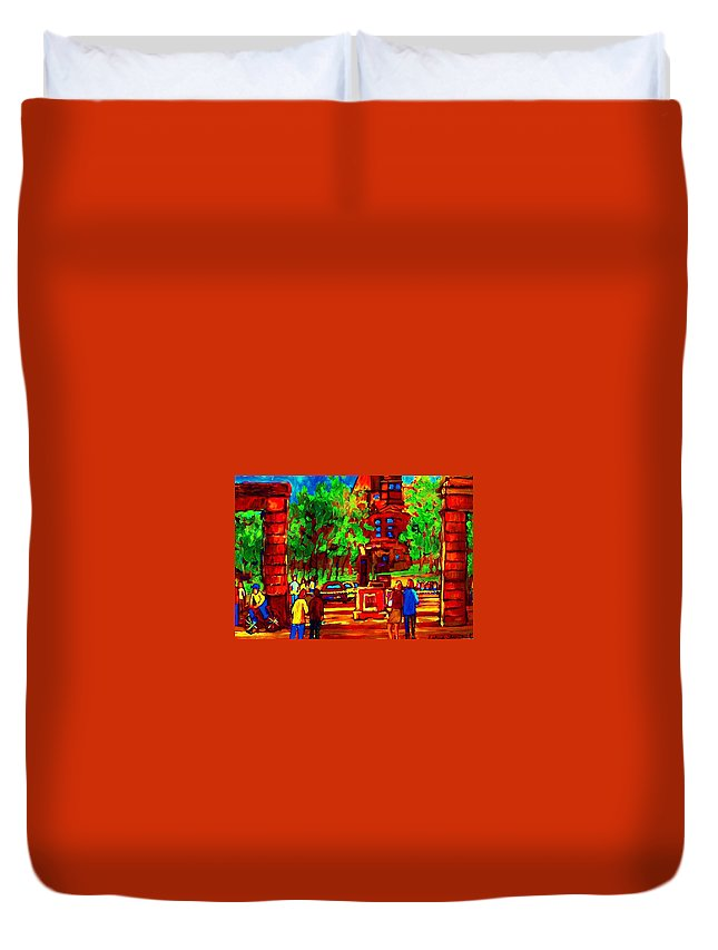 Mcgill University Duvet Cover featuring the painting Summer At Mcgill University by Carole Spandau