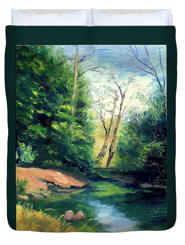 Landscape Duvet Cover featuring the painting Summer At Storm by Gail Kirtz