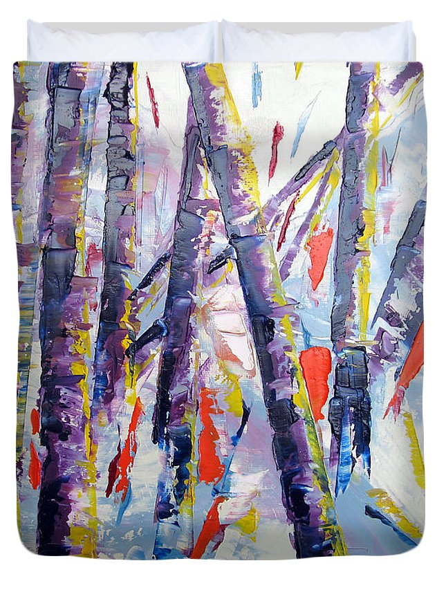 Landscape Duvet Cover featuring the painting Summer Birches by Lisa Boyd