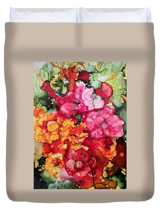 Bouquet Duvet Cover featuring the painting Summer Blast2 by Sally Atchinson